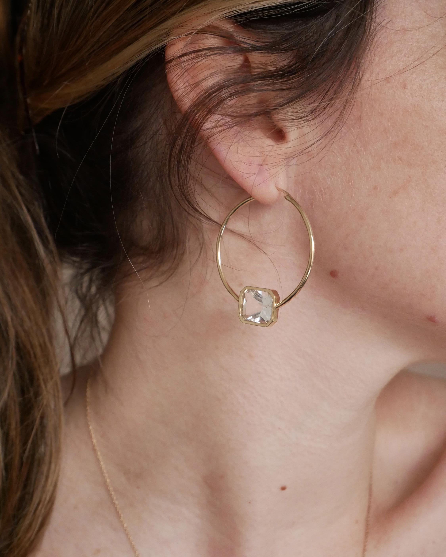 Leslie Paige White Topaz Bezel Hoop Earrings 2
