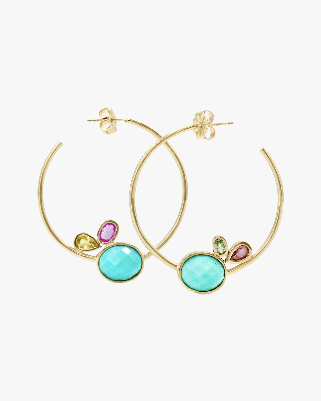 Leslie Paige Large Gemstone Cluster Hoop Earrings 0