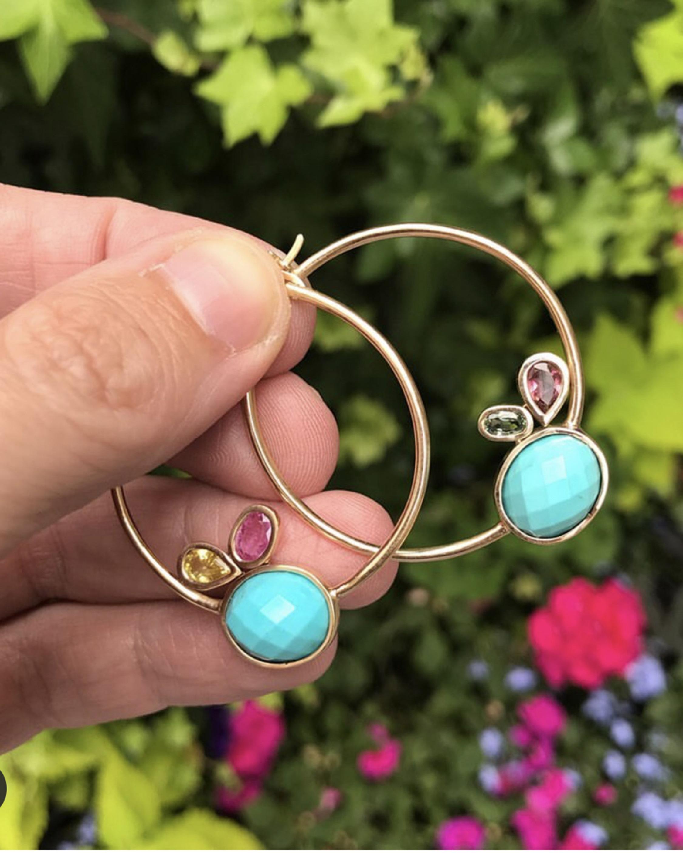 Leslie Paige Large Gemstone Cluster Hoop Earrings 2
