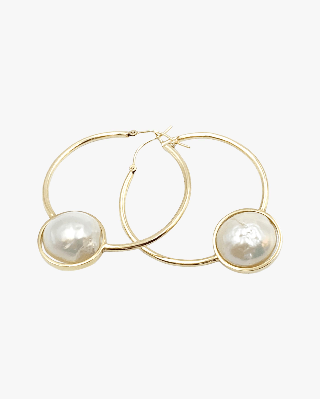Leslie Paige Pearl Bezel Hoop Earrings 1