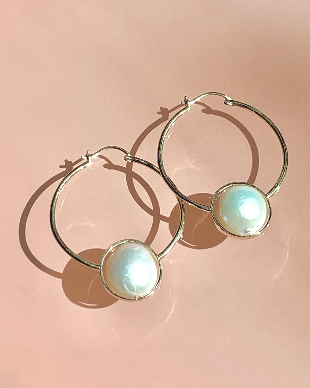 Leslie Paige Pearl Bezel Hoop Earrings 2