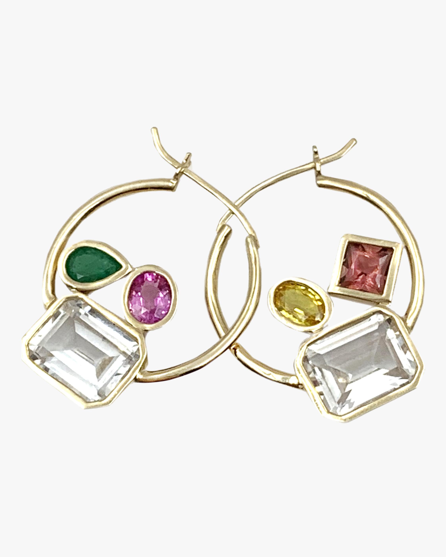 Leslie Paige Medium Gemstone Cluster Hoop Earrings 2