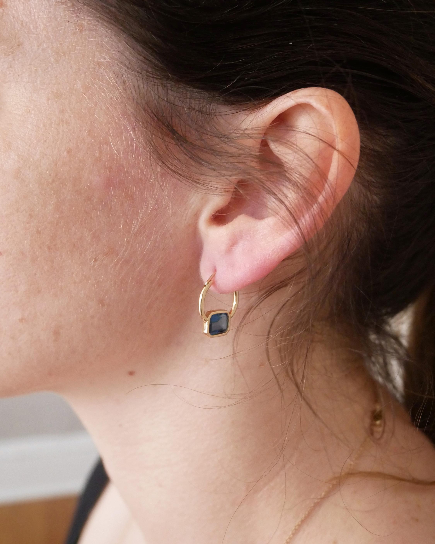 Leslie Paige Topaz Bezel Hoop Earrings 2