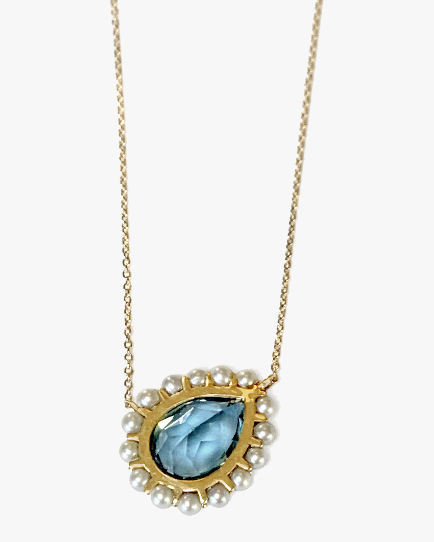 Leslie Paige Aquamarine & Pearl Pendant Necklace 1