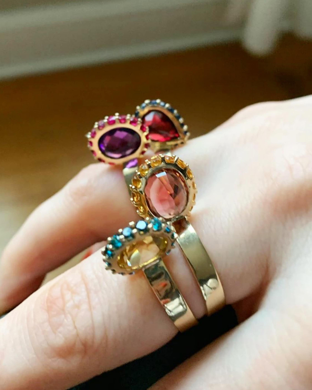 Leslie Paige Garnet & Blue Sapphire Perched Ring 2