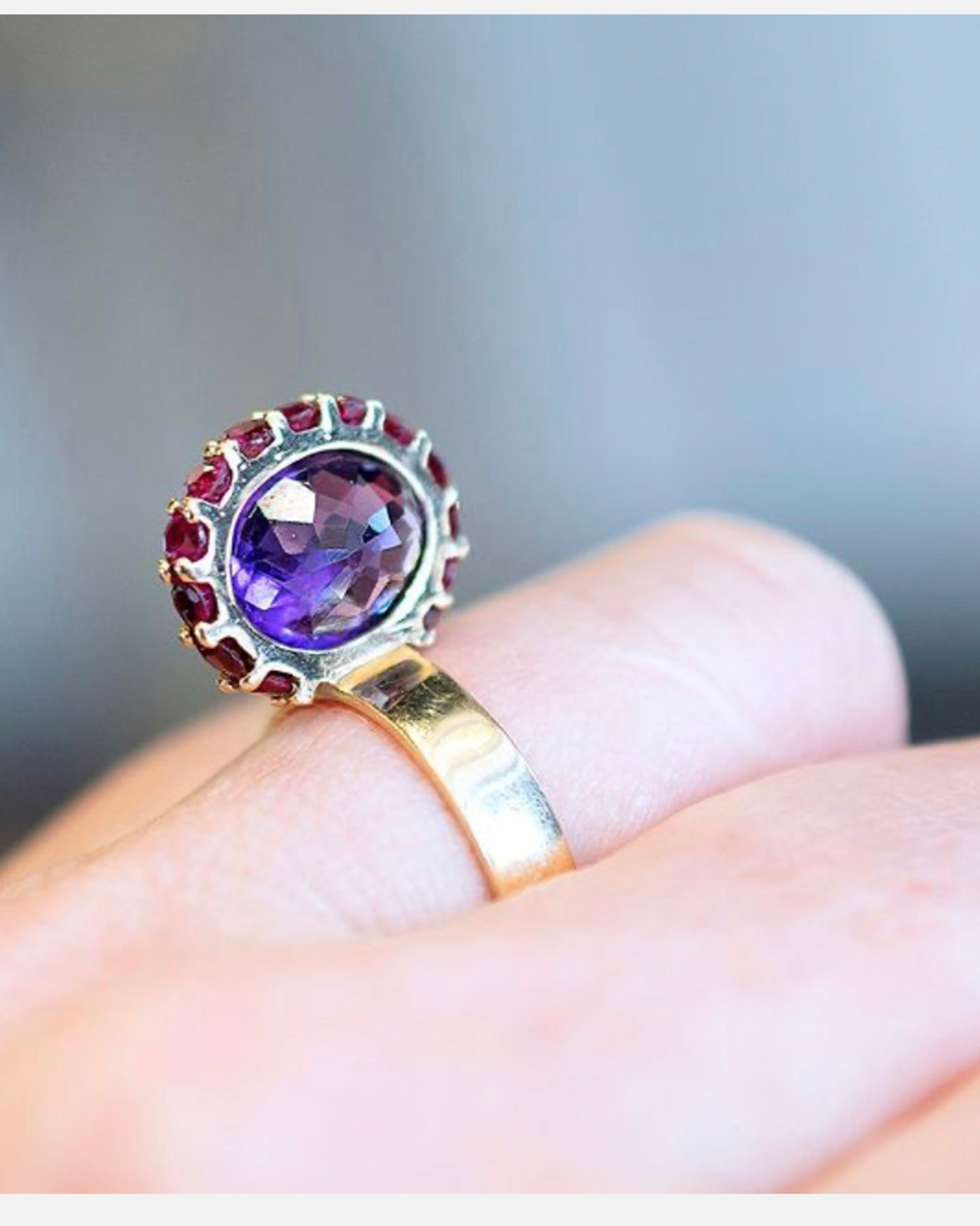 Leslie Paige Amethyst & Pink Sapphire Perched Ring 2