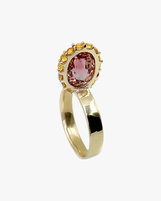 Leslie Paige Pink Tourmaline & Yellow Sapphire Perched Ring 0