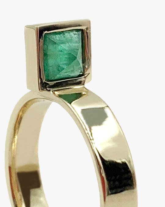 Leslie Paige Emerald Perched Ring 1