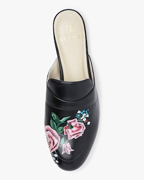 Hand Painted Mixed Bouquet Roses Leather Mule