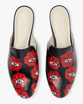 Hand Painted Evil Eyes Leather Mule