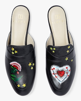 Hand Painted Hearts and Stars Leather Mule