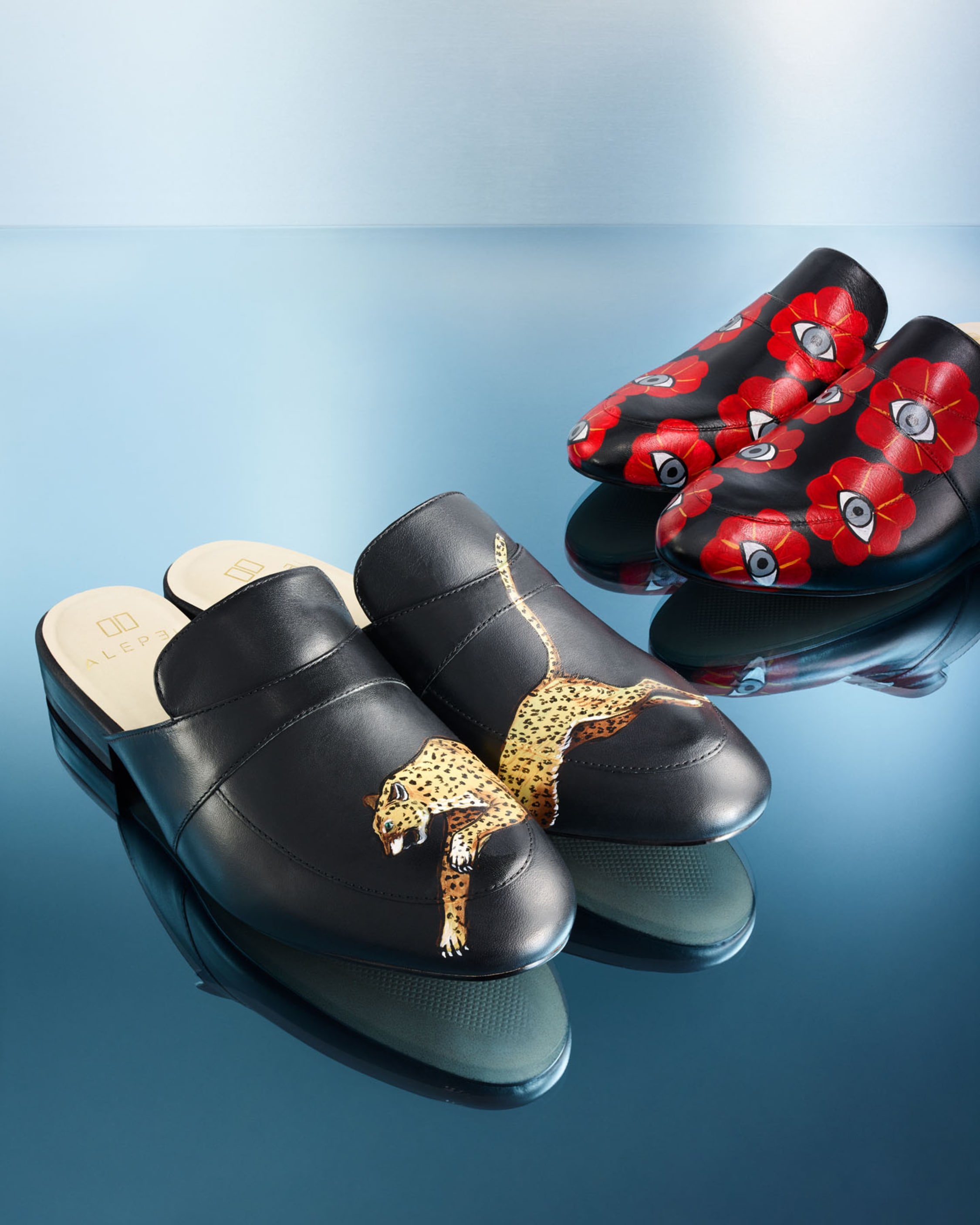 Alepel Hand Painted Leopard Leather Mule 2