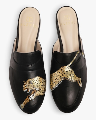 Alepel Hand Painted Leopard Leather Mule 1