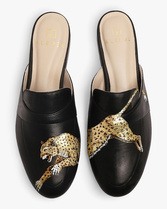 Alepel Hand Painted Leopard Leather Mule 0