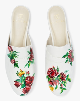 Hand Painted Red Roses Leather Mule