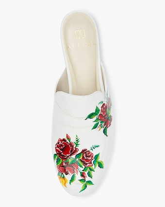 Alepel Hand Painted Red Roses Leather Mule 2