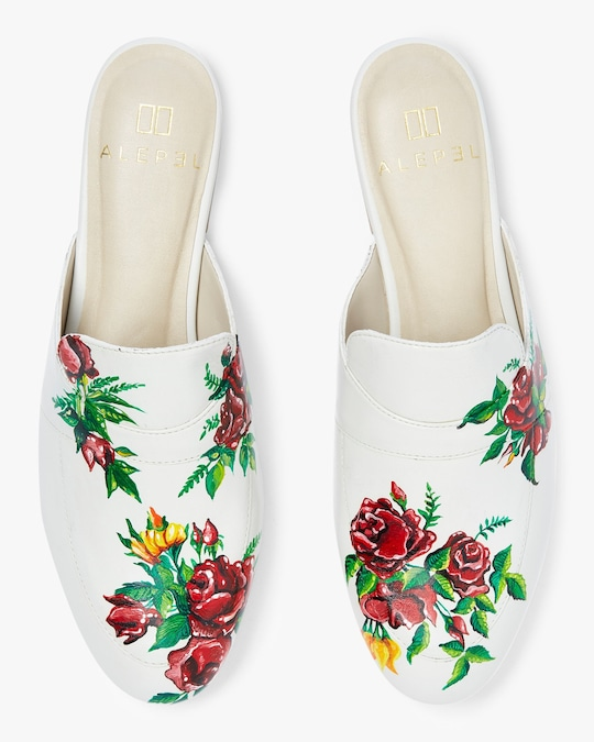 Alepel Hand Painted Red Roses Leather Mule 0