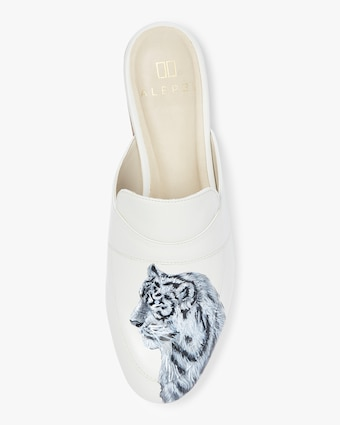 Hand Painted Tiger Leather Mule