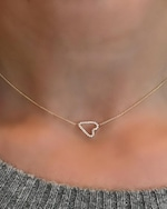 Jane Kaye Sideways Pavé Heart Necklace 1