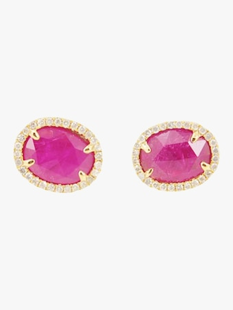 Rose Cut Ruby Stud Earrings