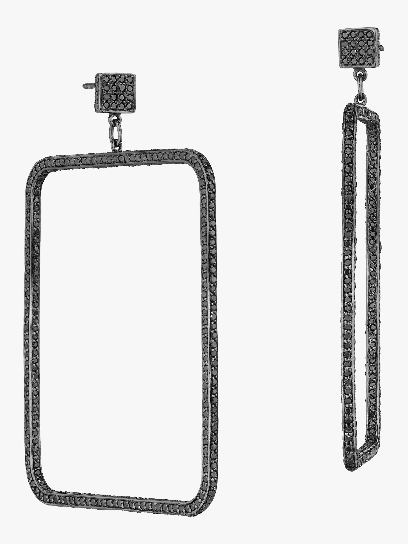 Piece Square Diamond Dangle Earrings