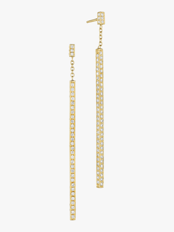 Piece Stick Pavé Diamond Earrings