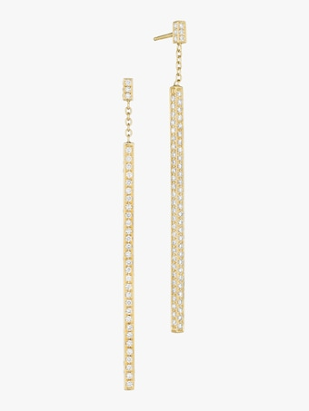 Piece Stick Pavé Diamond Earrings