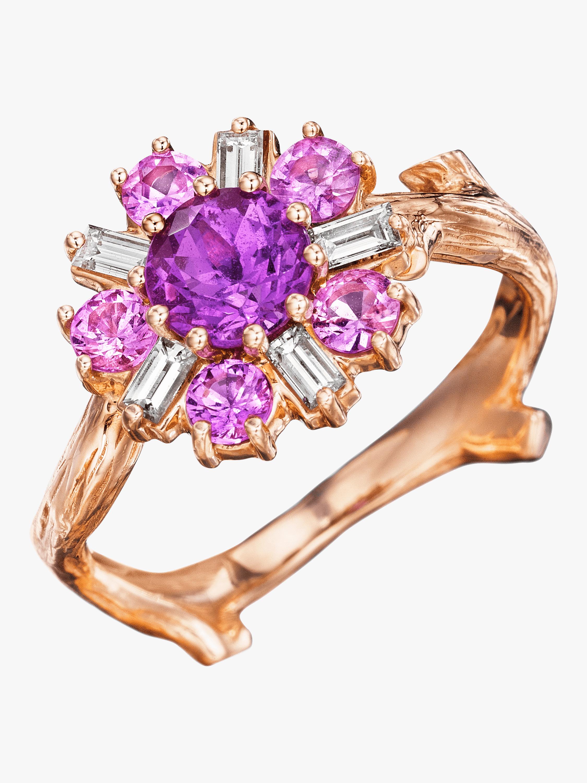 Wonderland Pink Sapphire Flower Ballerina Ring