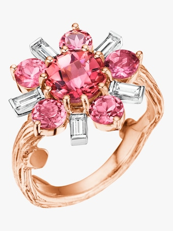 Wonderland Pink Tourmaline Flower Ballerina Ring