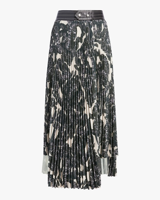 Helmut Lang Snake Print Pleated Skirt 0