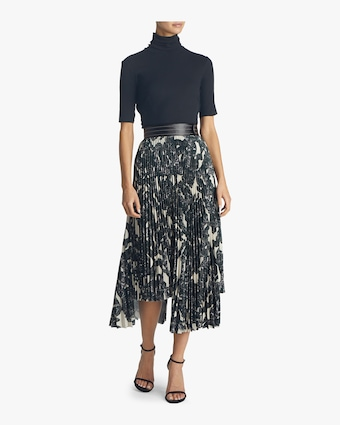 Snake Print Pleated Skirt