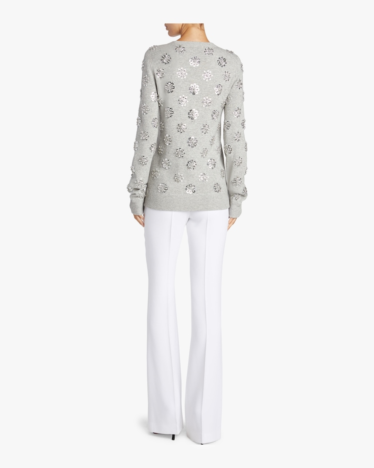 Floral Embroidered Crewneck Sweater Michael Kors Collection