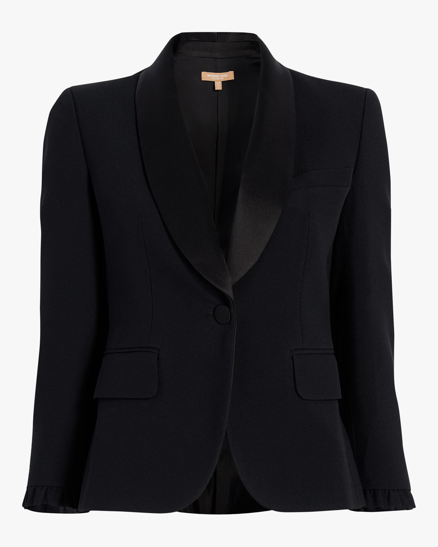 Satin Ruffle Tuxedo Jacket