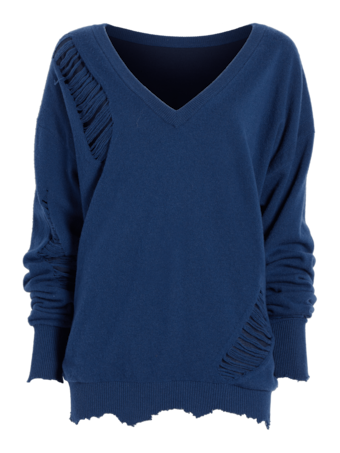 Long Sleeve Distressed Sweater