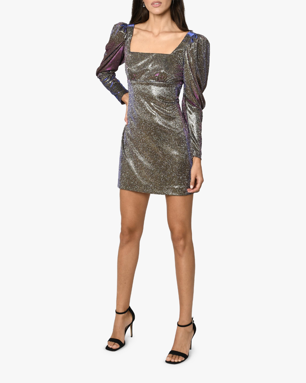 Nicole Miller Iridescent Square-Neck Mini Dress 1