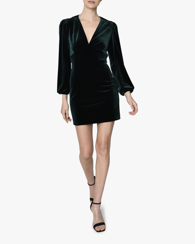 Nicole Miller Velvet Puffed-Sleeve V-Neck Dress 1