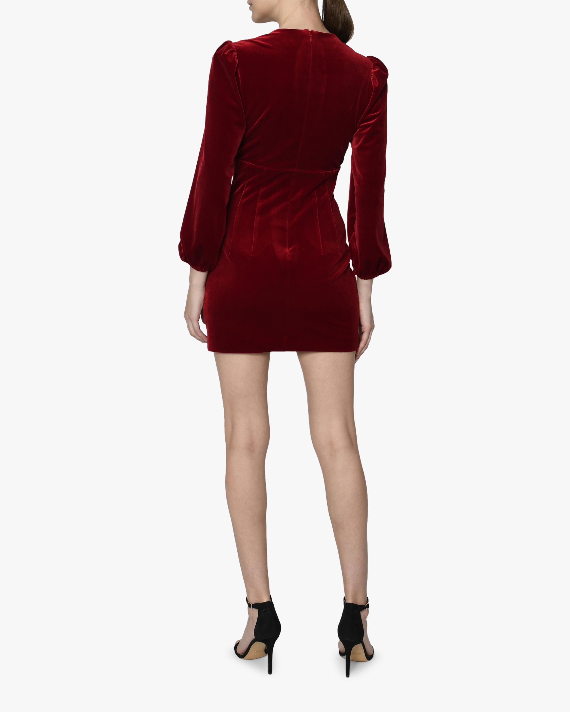 Nicole Miller Velvet Puffed-Sleeve V-Neck Dress 2
