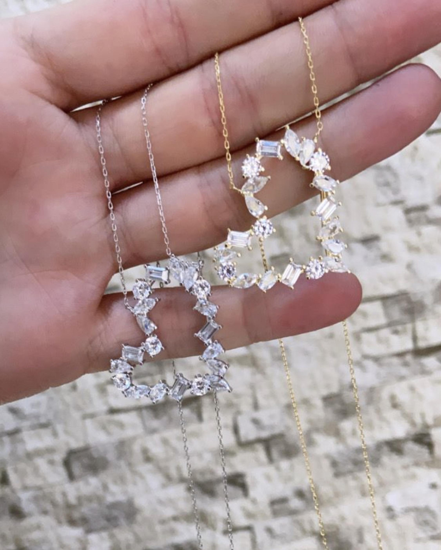 SHYMI Multi-Stone Heart Pendant Necklace 2