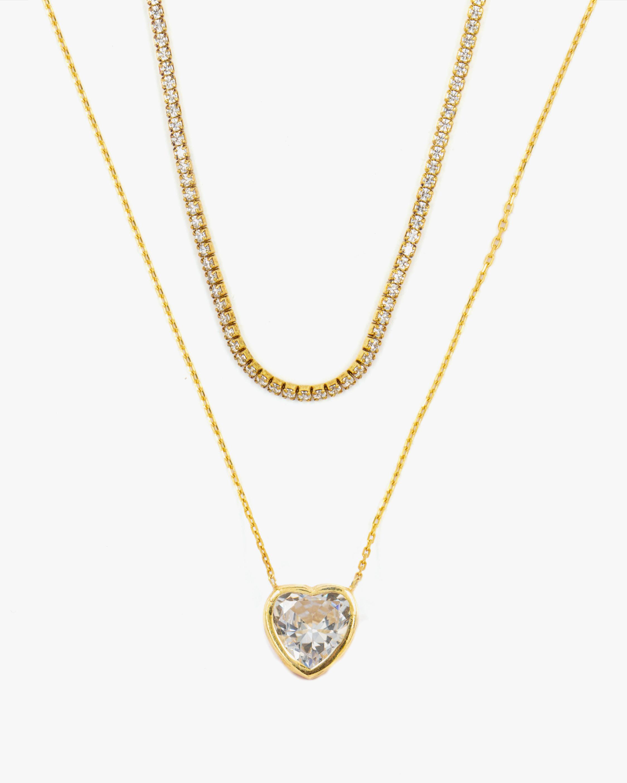 SHYMI Exclusive Heart Pendant Necklace & Tennis Choker Set 1