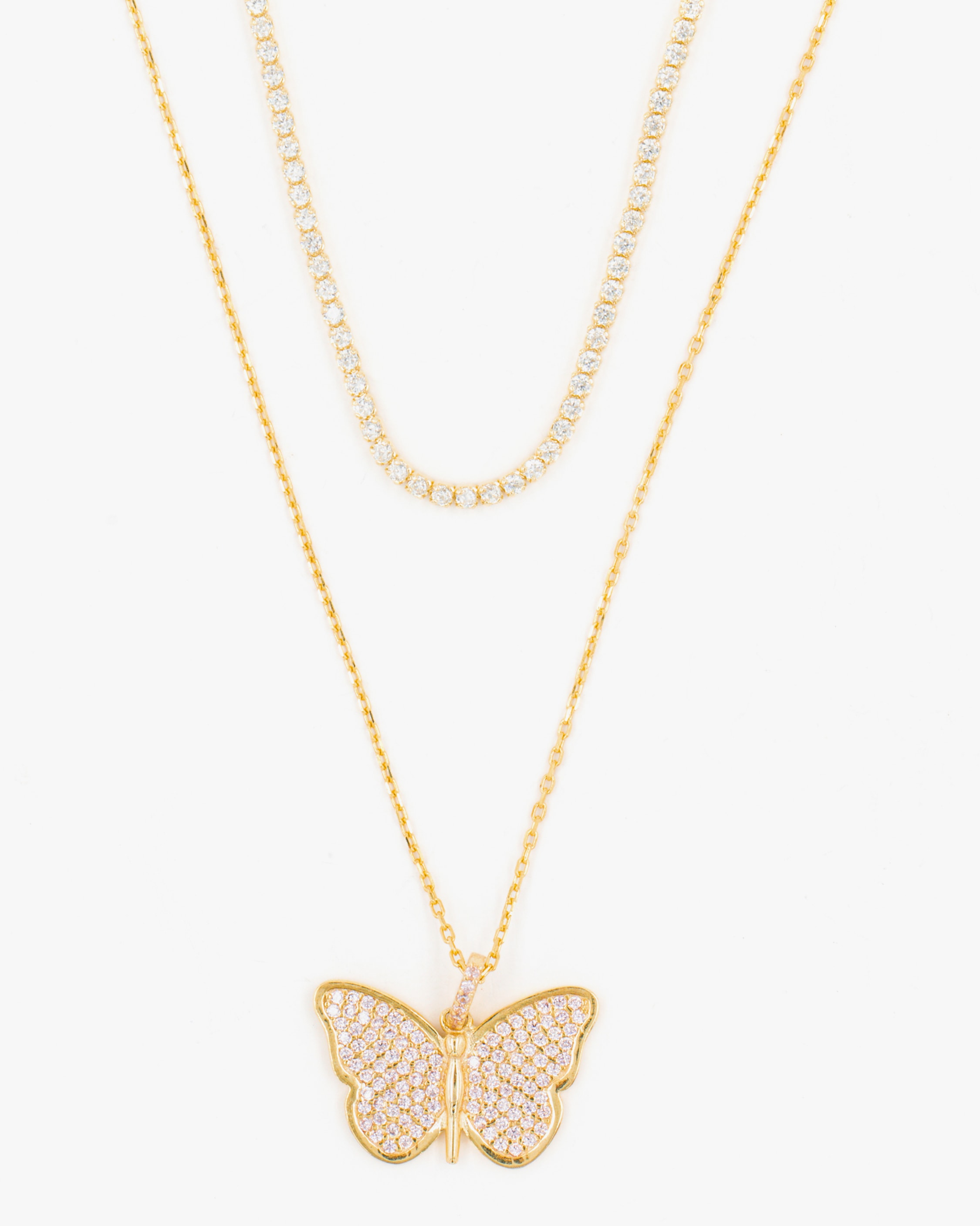 SHYMI Exclusive Butterfly Necklace & Tennis Choker Set 1
