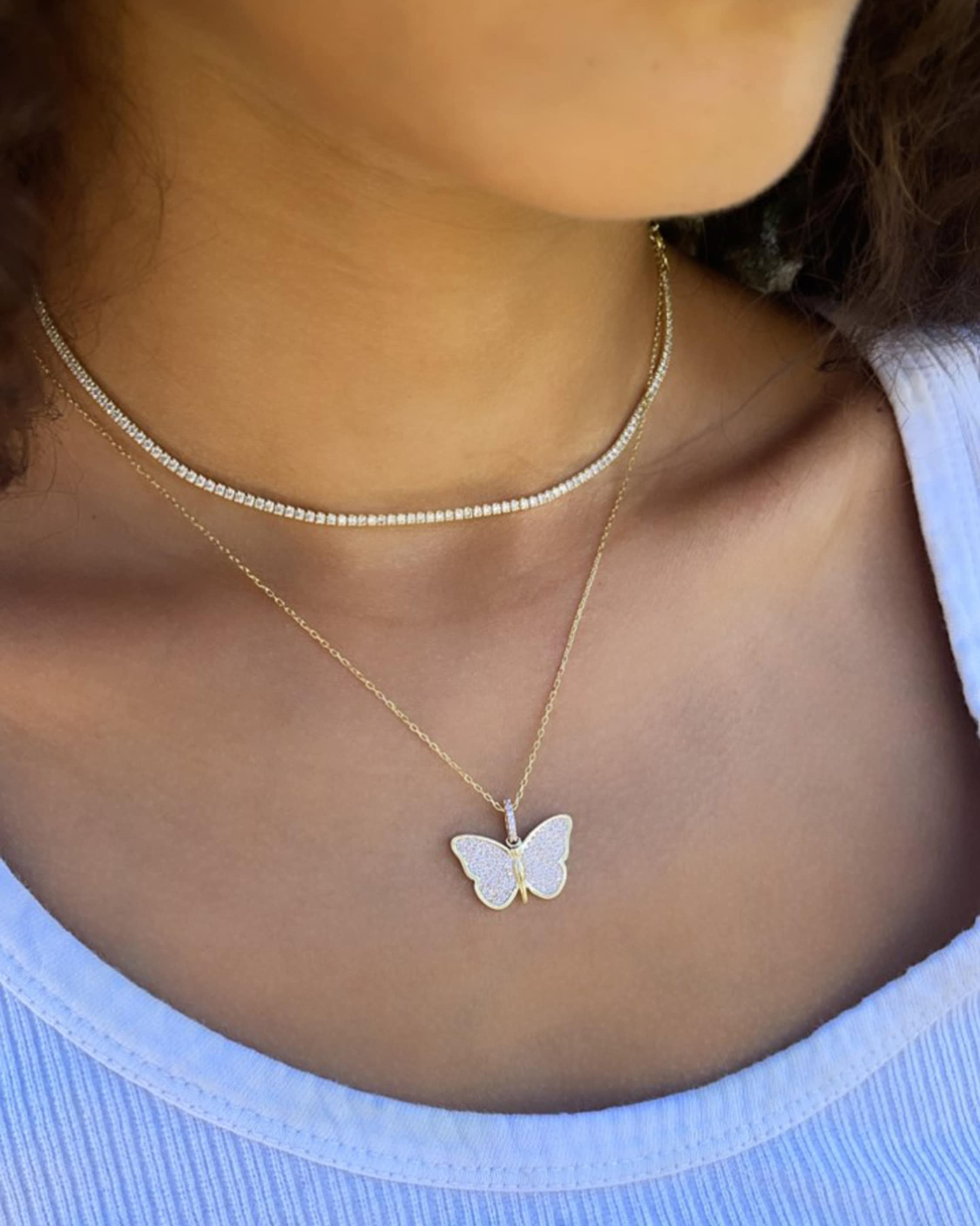 SHYMI Exclusive Butterfly Necklace & Tennis Choker Set 2