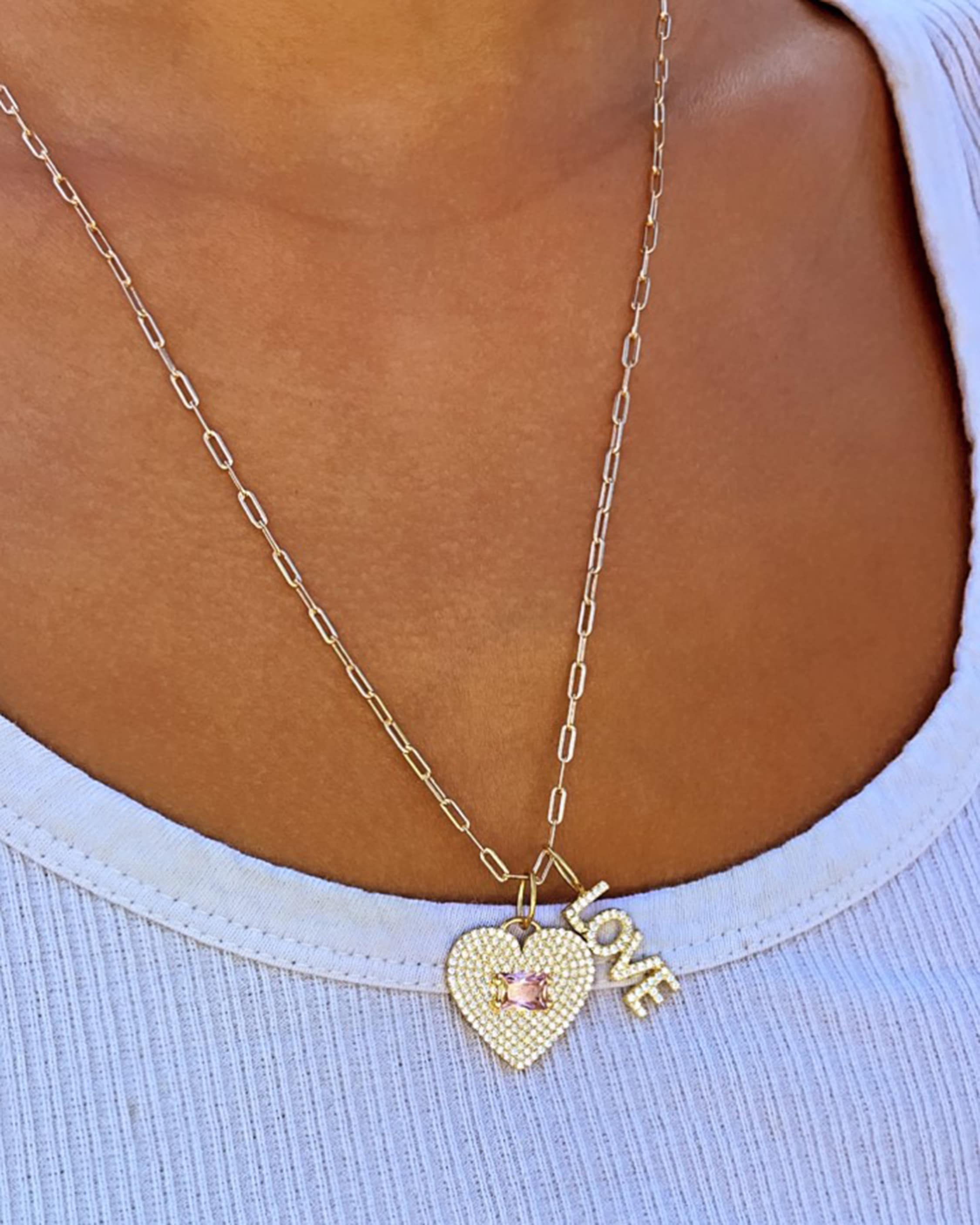 SHYMI Exclusive Pave Love Charm Necklace 2