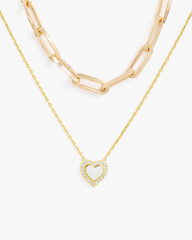 SHYMI Exclusive Heart Pendant Necklace & Paper Clip Chain Set 1