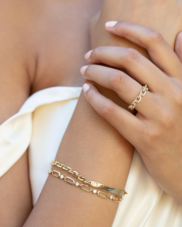 Lizzie Mandler Diamond Alternating Link Bracelet 2