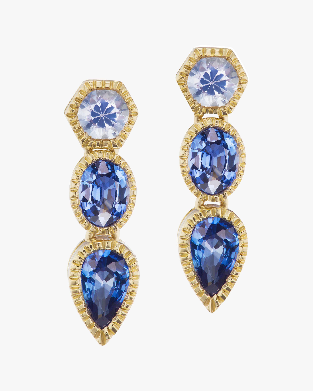 ARK Blue Sapphire Trio Lakshmi Drop Earrings 2