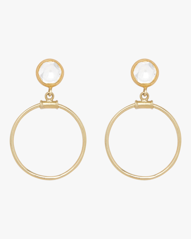 Kundan Diamond Dangle Hoop Earrings