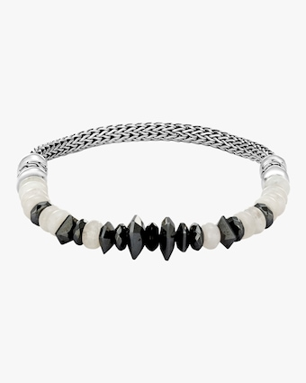 Classic Chain Rainbow Moonstone and Black Onyx Bracelet