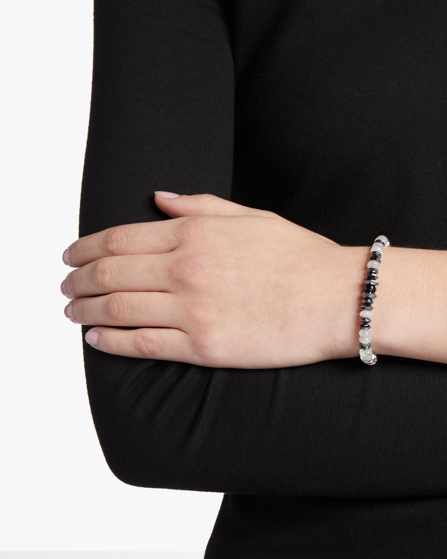 Classic Chain Rainbow Moonstone and Black Onyx Bracelet