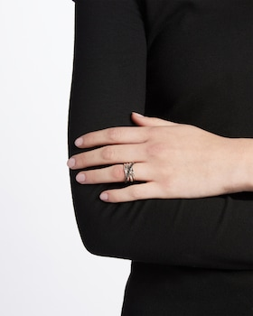 Bamboo Coiled Ring with Black Sapphire