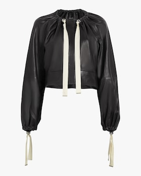 Ruched Neck Leather Jacket